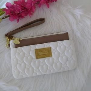 Betsey Johnson White Quilted Wristlet